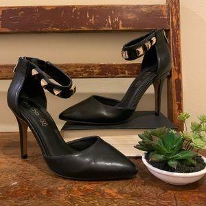 ALDO black pointy toe studded heels d'orsay